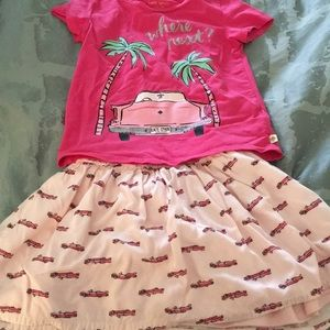"""Little girls Kate Spade """"where next?"""" outfit"""